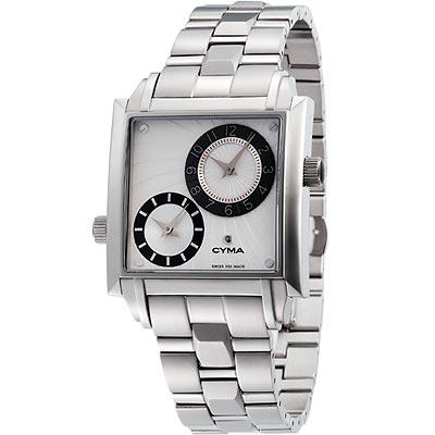 CYMA  星球軌跡雙時區鋼帶腕錶(白)