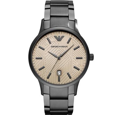 Emporio Armani Dress經典時尚腕錶(AR11120)卡其x黑色/43mm