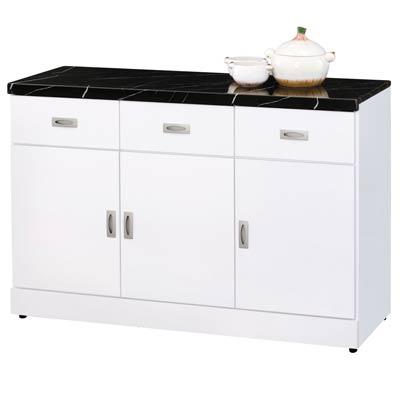 時尚屋亞泰純白4尺石面碗盤櫃