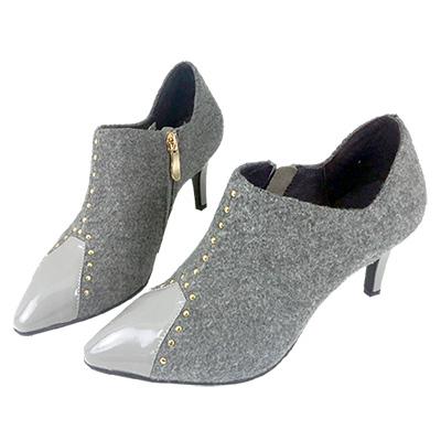Robinlo Studio 摩登時髦鉚釘絨面高跟踝靴 灰