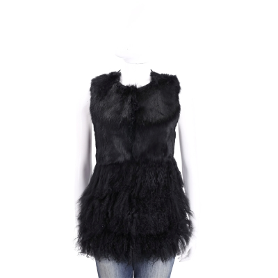 MARELLA 黑色兔毛拼接羊皮針織背心
