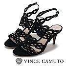 Vince Camuto 簍空交叉繞踝高跟涼鞋-黑色