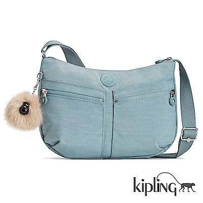 Kipling 斜背包 紋路質感淺藍-大