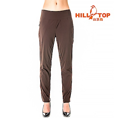【hilltop山頂鳥】女款超潑水抗UV彈性長褲S07FG1-堅果咖啡