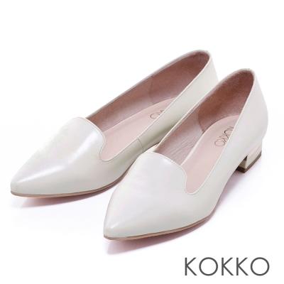 KOKKO真皮手工中性素面尖頭樂福跟鞋