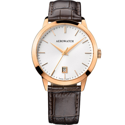 AEROWATCH 歐風雅仕經典時尚腕錶-玫瑰金框x咖啡/ 40 mm