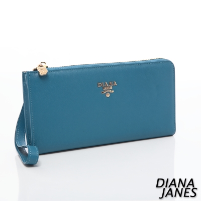 Diana-Janes-牛皮十字紋護照夾-藍