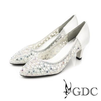 GDC-三角水鑽縷空拼接真皮尖頭高跟鞋/婚鞋-白色