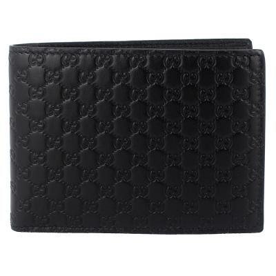 GUCCI Guccissima 黑色厚質真皮壓紋小雙G短夾(大/6卡)