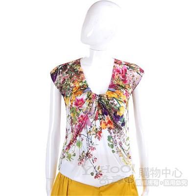 PAOLA FRANI 白色花朵彩繪V領短袖上衣