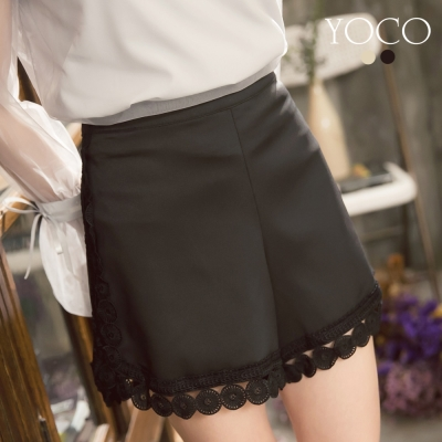 東京著衣-yoco 優雅氣質蕾絲拼接短褲-S.M.L(共二色)
