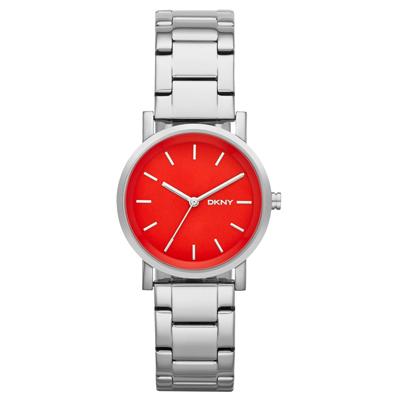 DKNY 紐約風格時尚三針腕錶-錶盤紅/34mm