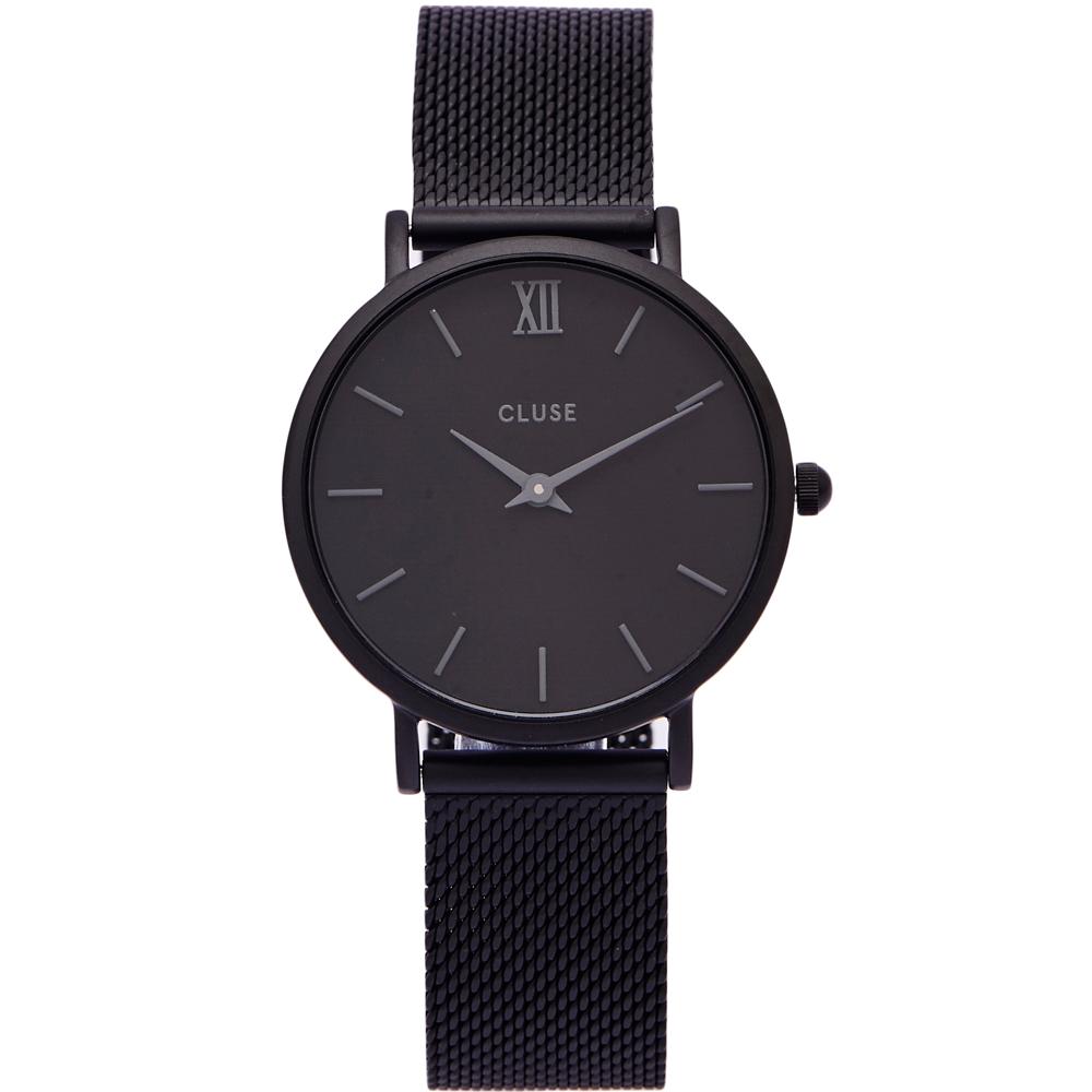 CLUSE時尚風米蘭錶帶手錶CL30011-黑面X黑色框33mm