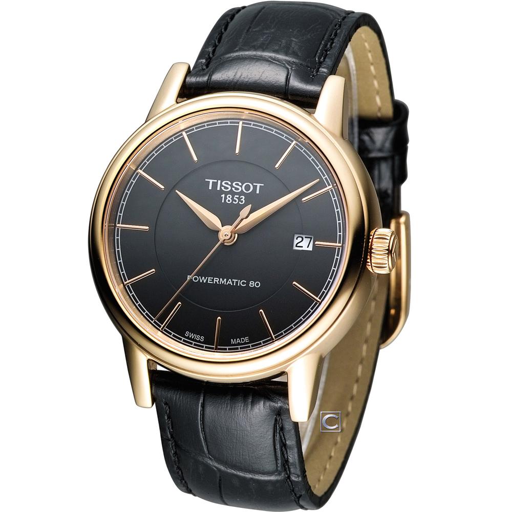 TISSOT CARSON 經典紳士機械腕錶-黑x玫塊金/40mm