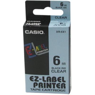 CASIO XR-6X1明底黑字標籤帶6m/m×8M