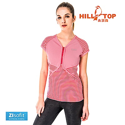 【hilltop山頂鳥】女款吸濕排汗抗UV上衣S04FH1-紅白條