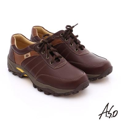 A.S.O 前彈性後避震II 壓紋真皮綁帶奈米休閒鞋 咖啡