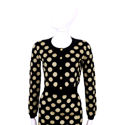 BOUTIQUE MOSCHINO 黑色金蔥圓點小外套(100%LANA)