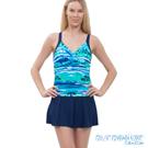 澳洲Sunseeker泳裝機能型小腹剋星漸層連身式泳衣洋裝-深藍