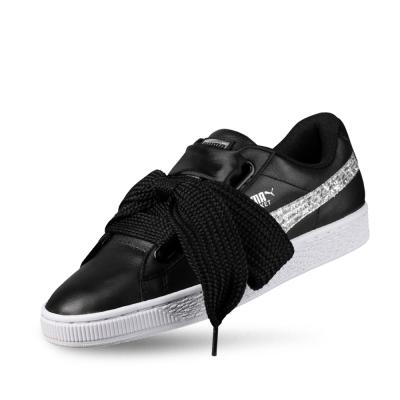 PUMA-BasketHeartGlitterWns女性復古籃球運動鞋-黑色