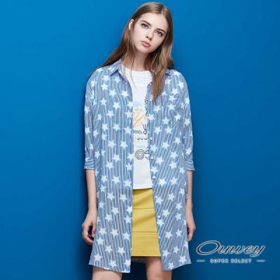 OUWEY歐薇 水藍星星印花襯衫外套(藍)
