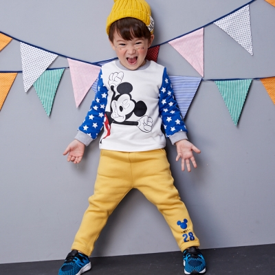 Disney baby米奇系列數字刷毛休閒褲 (共3色)