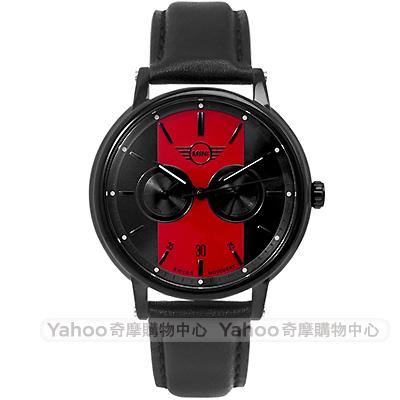 MINI Swiss Watches Cooper英倫風時尚雙環手錶-黑紅X黑帶/42mm