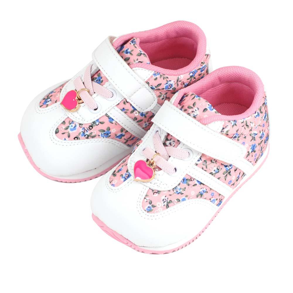 Swan天鵝童鞋-花布愛心吊飾輕量機能鞋 1536-粉