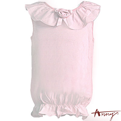 Anny's休閒舒適條紋大荷葉領無袖上衣*5318粉