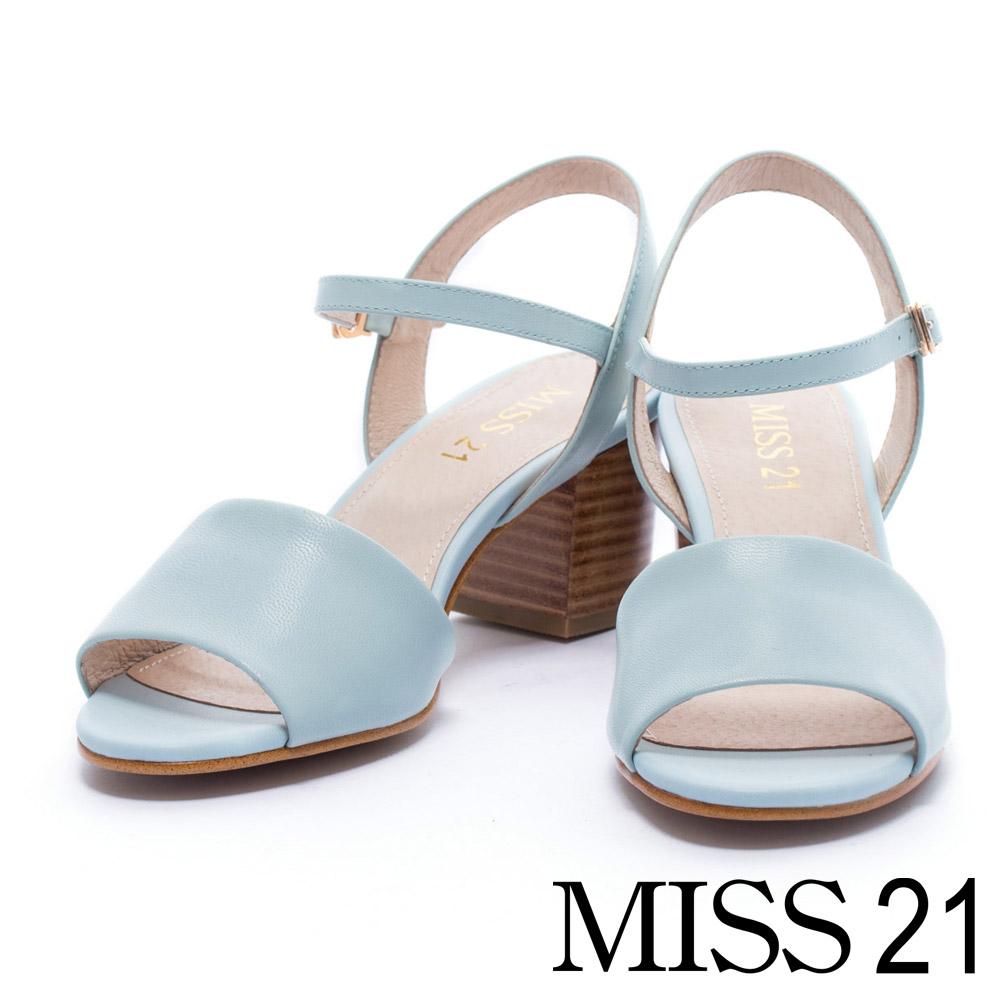 涼鞋 MISS 21 優雅美感魚口羊皮繫帶高跟涼鞋-藍