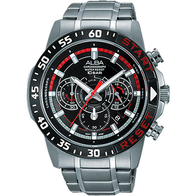 ALBA ACTIVE 活力運動計時腕錶(AT3967X1)-黑/44mm