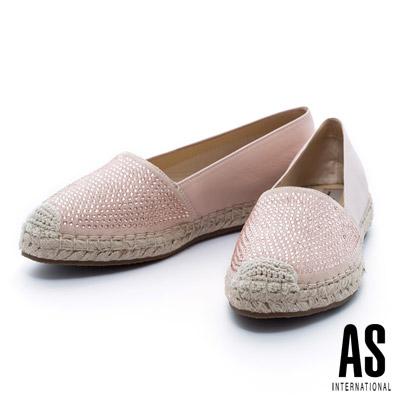 AS-異材質拼接晶鑽羊皮草編厚底休閒鞋-粉