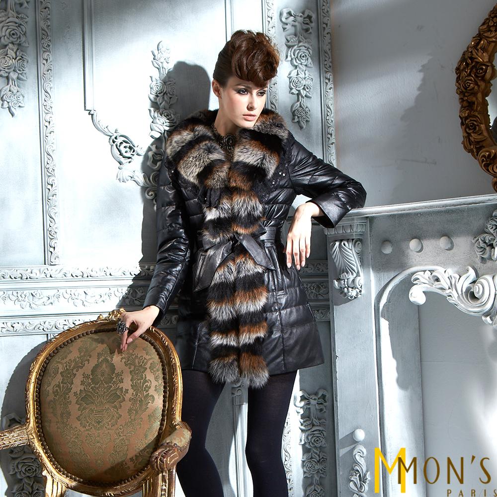 MONS芬蘭嚴選狐毛羊皮大衣共二色-黑色
