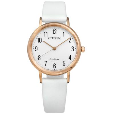 CITIZEN  光動能 阿拉伯數字時標牛皮手錶-灰白x玫瑰金框/30mm