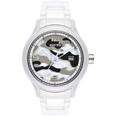 GOTO NO.7系列層次迷彩陶瓷腕錶-灰x白/42mm
