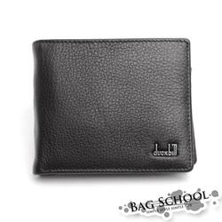 DF BAG SCHOOL皮夾 - 復古色調真皮皮革零錢式左右翻短夾-黑色