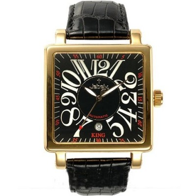 Jebely 萊茵河之戀系列 金色年華方框造型錶-貴族黑/38mm