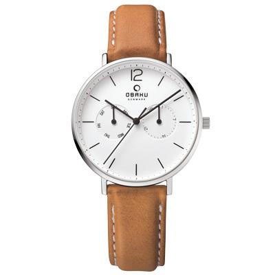 OBAKU-丹麥皇家簡約雙眼時尚腕錶-白x淡咖啡