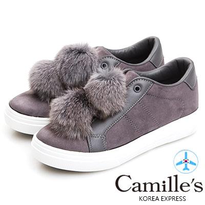 Camille's 韓國空運-正韓製-免毛球麂絨內增高懶人休閒鞋-灰色