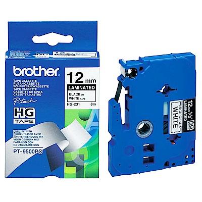 Brother HG-231 高速列印標籤帶 ( 12mm 白底黑字 )