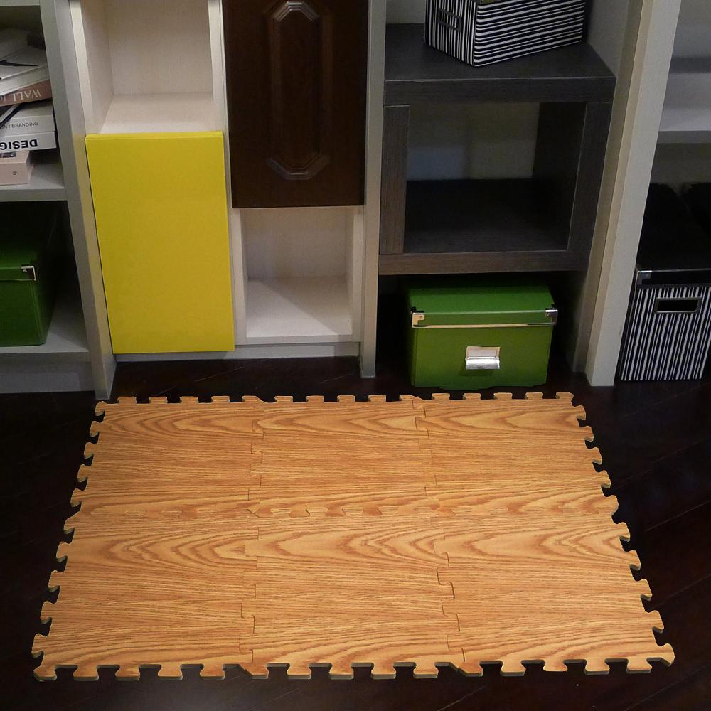 【新生活家】EVA耐磨橡木紋地墊-淺色32x32x1cm 6入