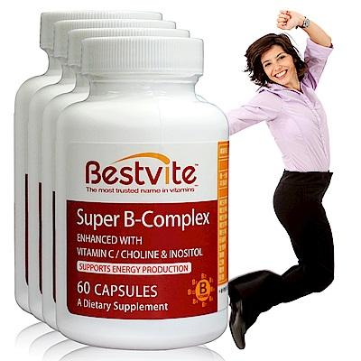 美國BestVite 必賜力超級維他命B群膠囊4瓶組 (60顆*4)