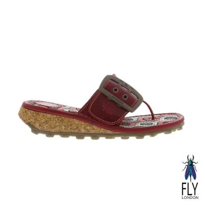Fly London(女) Kiss 大扣環草編底真皮低坡跟夾腳拖鞋 - 熱戀紅