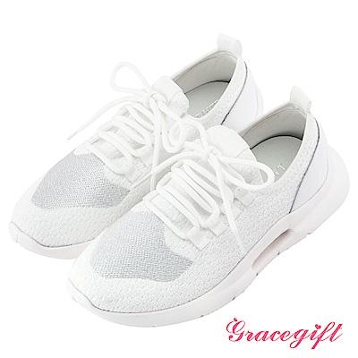 Grace gift-彈性針織布拼接運動休閒鞋 白