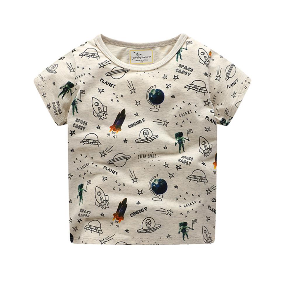 歐美春夏純棉兒童短T-太空探險