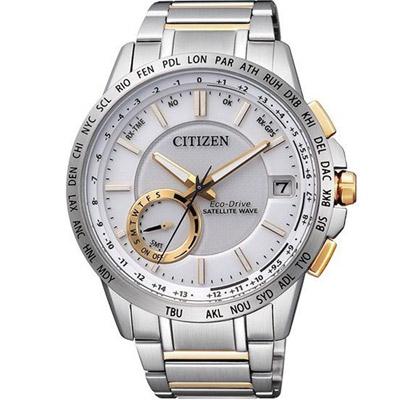 CITIZEN 星辰 光動能感光限量衛星紳士腕錶(CC3006-58A)-銀白/44.5mm
