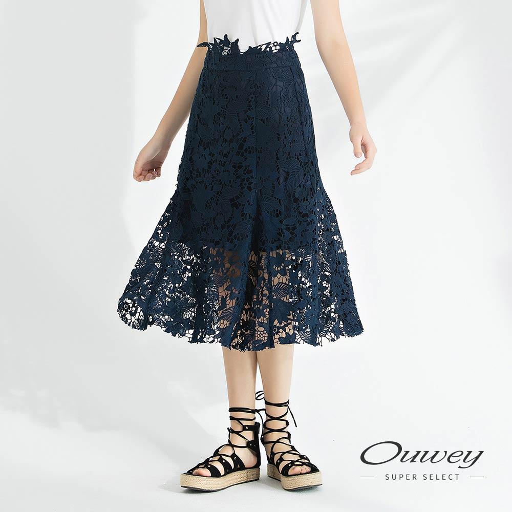 OUWEY歐薇 水溶蕾絲剪花膝下裙(藍)