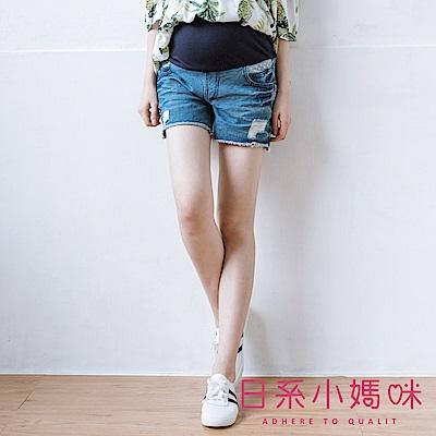 日系小媽咪孕婦裝-孕婦褲~後口袋點點蝴蝶結刷破抽鬚牛仔短褲 M-XXL