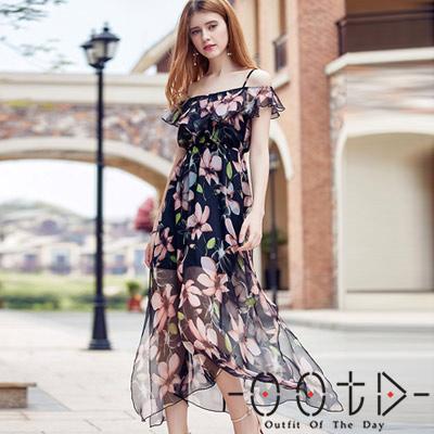 波西米亞風露肩吊帶雪紡洋裝 (花色)-OOTD