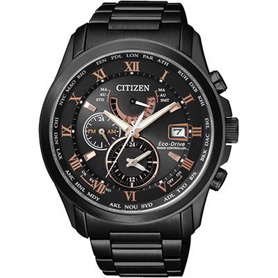 CITIZEN 光動能電波萬年曆腕錶(AT9085-53E)-黑x玫瑰金時標/43mm